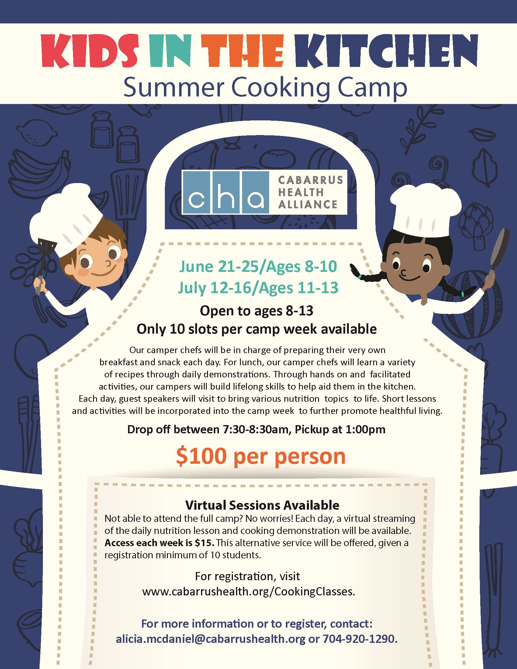 2021 Kids Camp Cooking Flyer